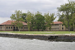 New York City,August 2nd:Ellis Island Museum Buildings from Hudson river in New York City stock photos