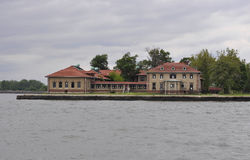 New York City,August 2nd:Ellis Island Museum Buildings from Hudson river in New York City royalty free stock photography