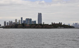 New York City,August 2nd:Ellis Island over Hudson river from New York City Stock Photography
