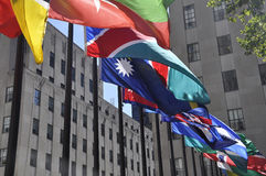 New York City,August 2nd:Flags close up from Rockefeller Plaza in Manhattan New York City Royalty Free Stock Photography