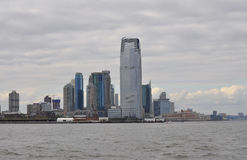 New York City,August 2nd:New Jersey City skyline at sunset over Hudson river Royalty Free Stock Photos