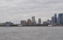 New York City,August 2nd:New Jersey City skyline at sunset over Hudson river stock image