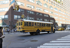 New York City,August 2nd:Schoolbus on traffic from Manhattan in New York City Royalty Free Stock Photo