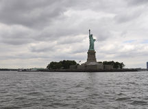 New York City,August 2nd:Statue of Liberty Island on a dramatic sky in New York City Stock Image