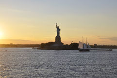 New York City,August 2nd:Statue of Liberty Island on sunset in New York City Stock Photo