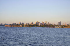New York City,August 3rd:Brooklin Panorama from Hudson river at sunset in New York City stock photo