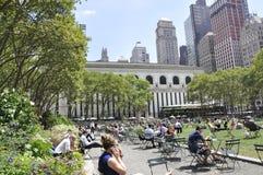 New York City august 3rd: Bryant Park från Manhattan i New York Royaltyfri Foto