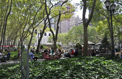 New York City august 3rd: Bryant Park från Manhattan i New York Royaltyfri Fotografi