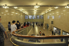 New York City august 3rd: Inre sikt för Grand Central station från Manhattan i New York Arkivbild