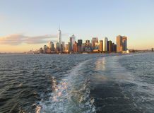 New York City,August 3rd:Manhattan Panorama from Hudson river at sunset in New York City. Manhattan Panorama from Hudson river at sunset in New York City on Stock Image