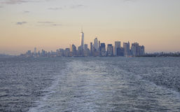 New York City,August 3rd:Manhattan Panorama from Hudson river at sunset in New York City. Manhattan Panorama from Hudson river at sunset in New York City on Royalty Free Stock Photos