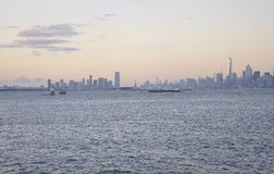 New York City,August 3rd:Manhattan panorama from Hudson river at sunset in New York City Stock Photography