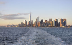 New York City,August 3rd:Manhattan Panorama from Hudson river at sunset in New York City. Manhattan Panorama from Hudson river at sunset in New York City on Stock Photo