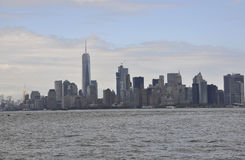 New York City,August 3rd:Manhattan Panorama from Hudson river at sunset in New York City. Manhattan Panorama from Hudson river at sunset in New York City on Stock Photography