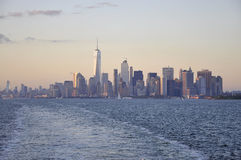 New York City,August 3rd:Manhattan Panorama from Hudson river at sunset in New York City. Manhattan Panorama from Hudson river at sunset in New York City on Royalty Free Stock Photography