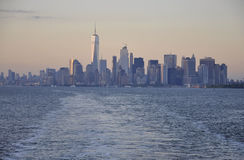 New York City,August 3rd:Manhattan Panorama from Hudson river at sunset in New York City. Manhattan Panorama from Hudson river at sunset in New York City on Royalty Free Stock Photo