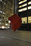 New York City,august 3rd:Red Cube plaza by night on Broadway from Manhattan in New York Stock Image