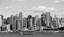 New york city b&w skyline over hudson river Royalty Free Stock Photography