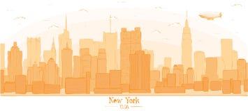 New York city banner panorama buildings landmarks day skyline si Stock Photos