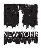 New York City. Banner with of New York City, Statue of Liberty at night Stock Image