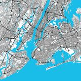 New York City Big Area Map. Downtown Manhattan, Brooklyn, Jersay City in Very rich details. Very Large Vector File Royalty Free Stock Photos