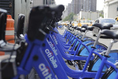 New York City bike sharing station. A shot of bicycles at a station in midtown manhattan Stock Image