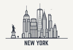 New York city black lines Royalty Free Stock Images