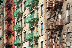 New York City Block of Apartment Buildings in Manhattan Stock Image