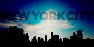 New York City Blue Panoramic Downtown Skyline Stock Image