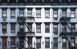 New York City Blue and White Brick Apartment Buildings Royalty Free Stock Photos