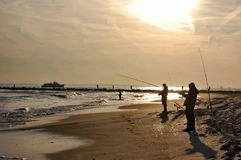 New york city breezy point fishing spot anglers. There is one of the populalar fishing area in New York city near Atlantic ocean , which is Breezy Point Stock Image
