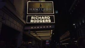 New York City, New York - 2019-05-08 - Broadway 1 Hamilton Theater Marquee clips vidéos