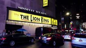 New York City, New York - 2019-05-08 - Broadway 3 Lion King Theater Marquee banque de vidéos