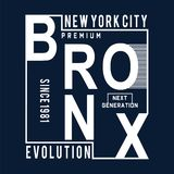 New york city bronx evolution typography design stock photography