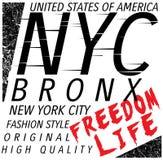 New York City; Bronx Grunge background. Typography; t-shirt grap. Hics; poster fashion style Stock Image