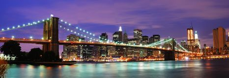 New York City Brooklyn Bridge. At night with Manhattan skyline connecting Brooklyn and Manhattan of New York City royalty free stock image