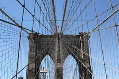 New York City Brooklyn Bridge. A closeup of the Brooklyn Bridge in Manhattan Stock Photo
