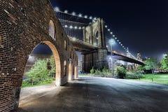 New York City Brooklyn Bridge with the Brooklyn Park Royalty Free Stock Photography