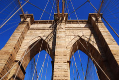 New York City Brooklyn Bridge closeup Stock Photos