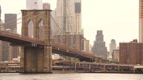 New York City Brooklyn Bridge East River Manhatten Skyline stock video