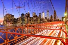 New York City Brooklyn Bridge. New York City financial district cityscape from the Brooklyn Bridge Stock Photos