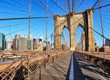 New York City with brooklyn bridge, Lower Manhattan, USA Stock Photos