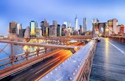 New York City with brooklyn bridge, Lower Manhattan, USA Royalty Free Stock Photo