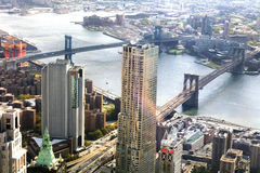 New York City Brooklyn Bridge and Manhattan Bridge Stock Photo