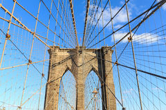 New York City Brooklyn Bridge in Manhattan close up. Royalty Free Stock Image