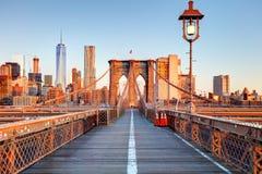 New York City Brooklyn Bridge in Manhattan closeup with skyscrap Stock Image
