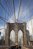 New York City, Brooklyn Bridge, Manhattan with skyscrapers and c Royalty Free Stock Image