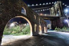 New York City Brooklyn Bridge in the night Stock Images