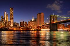 New York City Brooklyn Bridge at night Stock Image