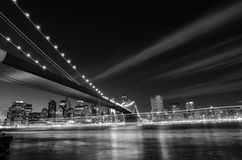 New York City, Brooklyn Bridge at night - New York, United States - Black and White Royalty Free Stock Photography